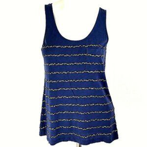 🍁J. CREW - BLUE AND GOLD SEQUINED TANK TOP MEDIUM
